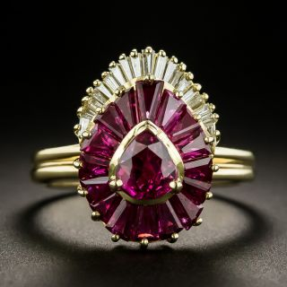 Estate Pear Shaped Ruby and Diamond Ring - 2