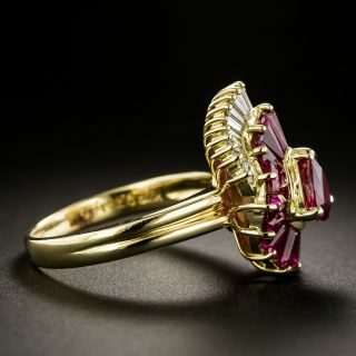 Estate Pear Shaped Ruby and Diamond Ring