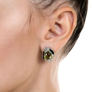 Estate Peridot and Baguette Diamond Earrings