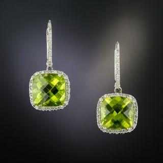 Estate Peridot and Diamond Dangle Earrings - 2