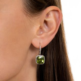 Estate Peridot and Diamond Dangle Earrings