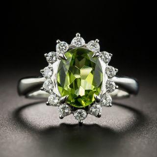 Estate Peridot and Diamond Halo Ring - 2