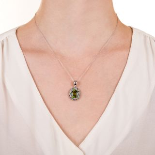 Estate Peridot and Multi-Gemstone Pendant