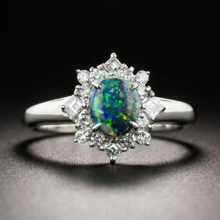 Estate Petite Black Opal and Diamond Ring - 1