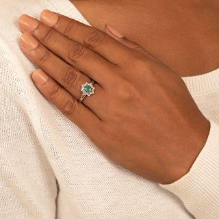 Estate Petite Black Opal and Diamond Ring