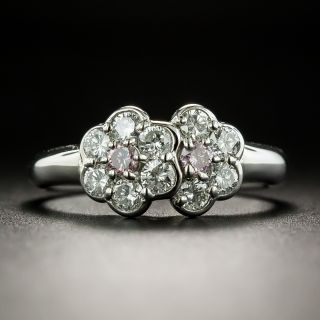 Estate Pink and White Diamond Cluster Ring - 2