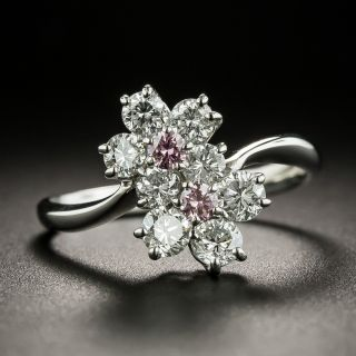 Estate Pink and White Diamond Double Flower Ring - 2