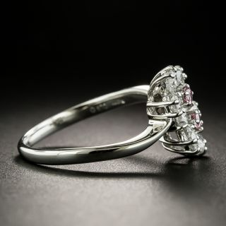 Estate Pink and White Diamond Double Flower Ring