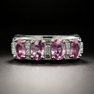 Estate Pink Sapphire and Diamond Band Ring - 2