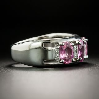Estate Pink Sapphire and Diamond Band Ring