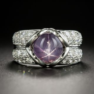 Estate Pink Star Sapphire and Diamond Ring - 1