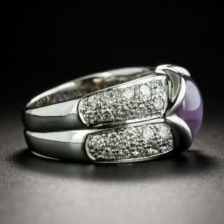Estate Pink Star Sapphire and Diamond Ring