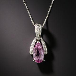 Estate Pink Topaz and Diamond Pendant - 2