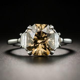 Estate Platinum 3.56 Carats Fancy Dark Yellowish Brown Diamond Ring - GIA - 2