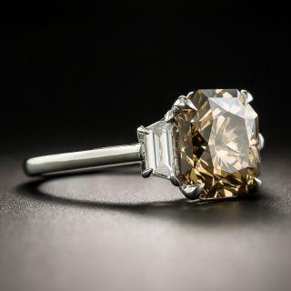 Estate Platinum 3.56 Carat Fancy Dark Yellowish Brown Diamond Ring - GIA