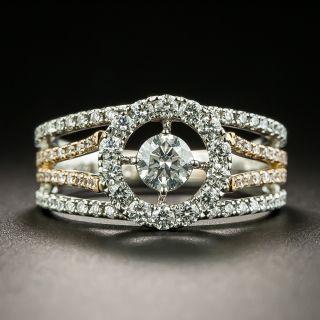 Estate Platinum and Rose Gold Diamond Ring - 1