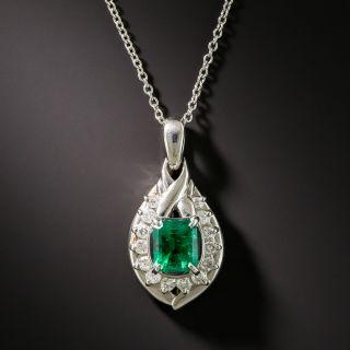 Estate Platinum Emerald Diamond Pendant Necklace - 2