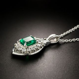 Estate Platinum Emerald Diamond Pendant Necklace