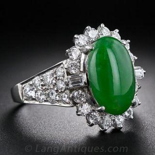 Estate Platinum Jadeite and Diamond Ring