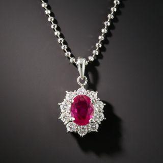 Estate Platinum Ruby Diamond Drop Necklace - 2