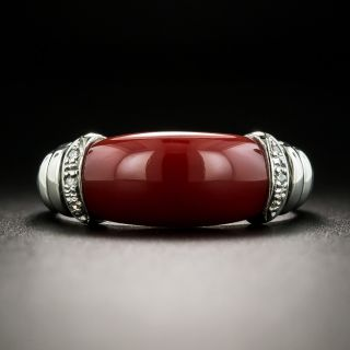 Estate Red Saddle Coral and Diamond Ring - 2