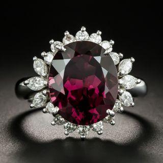 Estate Rhodolite Garnet and Diamond Cocktail Ring - 2