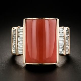 Estate Rose Gold Coral and Diamond Ring - 1