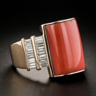 Estate Rose Gold Coral and Diamond Ring