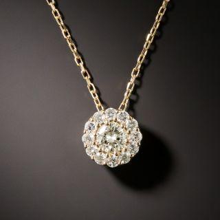 Estate Rose Gold Diamond Cluster Pendant - 2