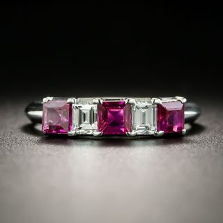 Estate Ruby and Diamond Band Ring - 2