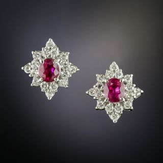 Estate Ruby and Diamond Cluster Earrings - 2