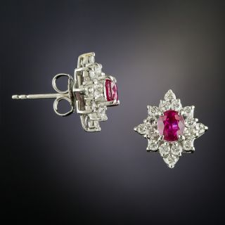 Estate Ruby and Diamond Cluster Earrings
