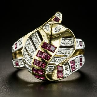 Estate Ruby and Diamond Cobra Ring - 4