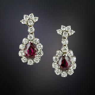 Estate Ruby and Diamond Dangle Earrings - 3