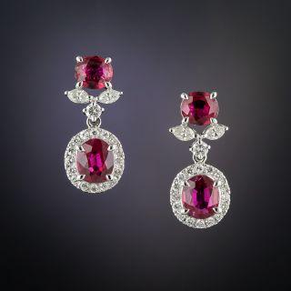 Estate Ruby and Diamond Drop Earrings - 2