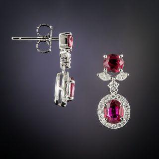 Estate Ruby and Diamond Drop Earrings