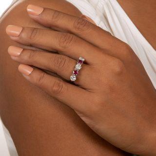 Estate Ruby and Diamond Five-Stone Ring, English