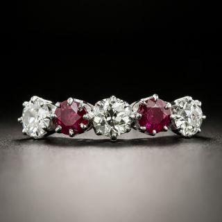 Estate Ruby and Diamond Five-Stone Ring, English - 2