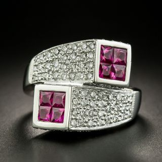 Estate Ruby and Diamond Geometric Bypass Ring - 2