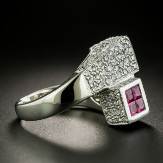 Estate Ruby and Diamond Geometric Bypass Ring