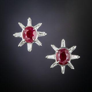 Estate Ruby and Diamond Platinum Earrings - 2
