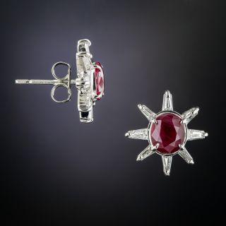 Estate Ruby and Diamond Platinum Earrings