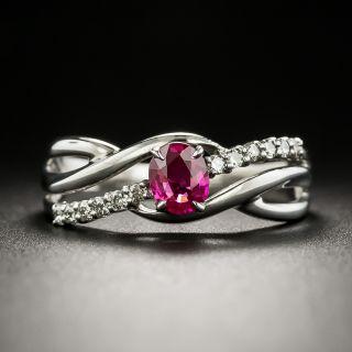 Estate Ruby and Diamond Twist Ring - 2