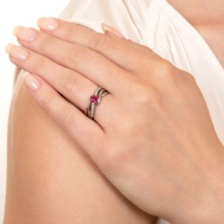 Estate Ruby and Diamond Twist Ring