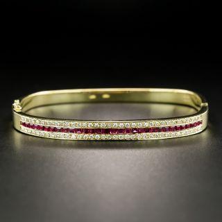 Estate Ruby Diamond Bangle Bracelet - 1