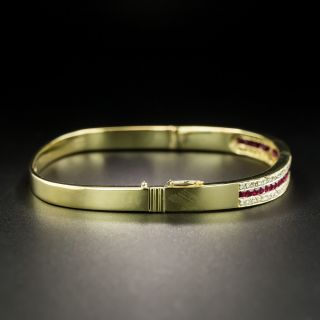 Estate Ruby Diamond Bangle Bracelet