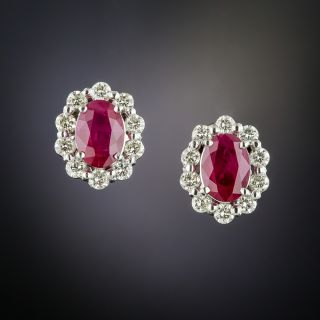 Estate Ruby Diamond Platinum Halo Earrings - 2