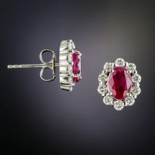 Estate Ruby Diamond Platinum Halo Earrings