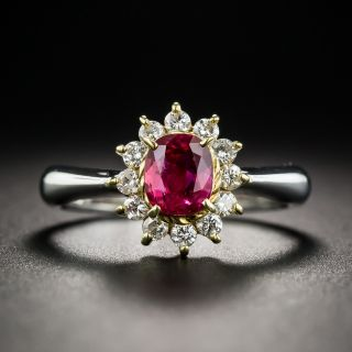Estate Ruby Platinum Diamond Halo Ring