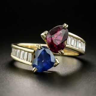 Estate Ruby, Sapphire and Diamond Bypass Ring - 2